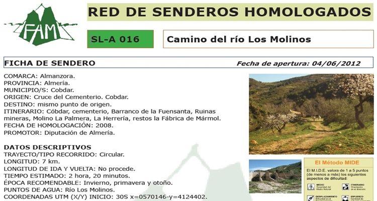 Sendero Camino del río Los Molinos (Cóbdar)