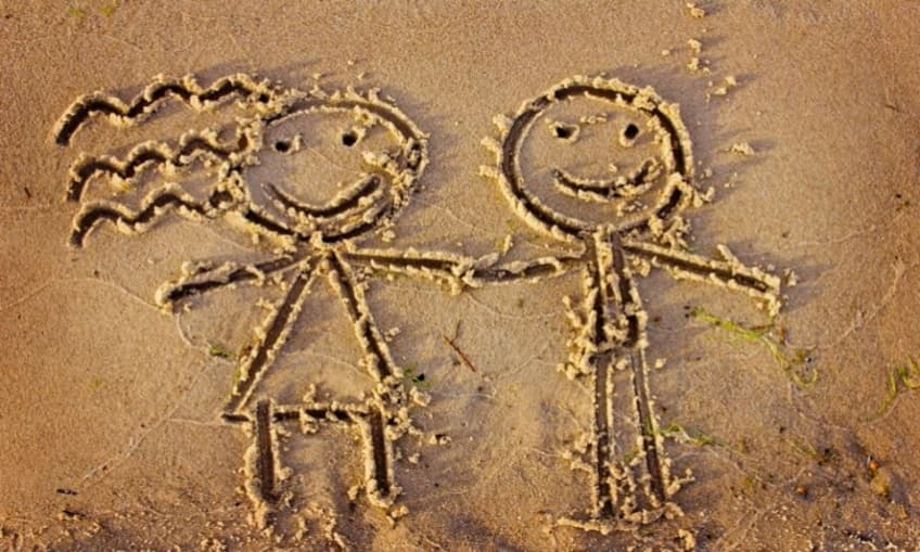 drawing of children in the sand
