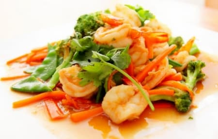 Prawns with vegetables